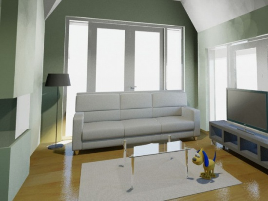 Interieur woonkamer in garage